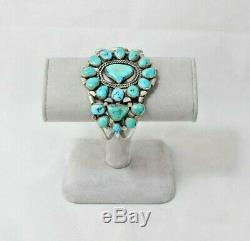 Vintage Sterling Cuff Bracelet Turquoise Navajo Style Southwestern Handcrafted