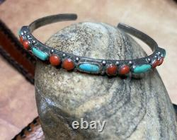 Vintage Sterling Silver Cuff BraceletTurquoise Coral Stones Native American