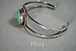 Vintage Sterling Silver Native American Navajo Turquoise Stone Cuff Bracelet