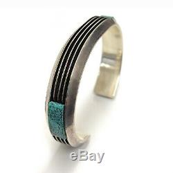 Vintage Sterling Silver Spider Web Turquoise & Coral Cobble Inlay Cuff Bracelet