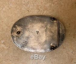 Vintage Sterling Silver Turquoise Belt Buckle Harvey Era P Signed Navajo Native