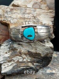 Vintage Sterling Silver Turquoise Cuff Bracelet Navajo Native Southwestern