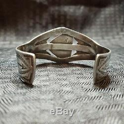 Vintage Sterling Silver Turquoise Cuff Bracelet Old Pawn Fred Harvey Arrows. 925