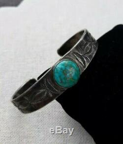 Vintage Sterling Silver Turquoise Navajo Cuff Bracelet Good Luck Southwest