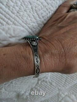 Vintage Sterling Silver Turquoise Navajo Stamped Cuff Bracelet