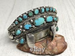 Vintage Sterling silver turquoise Stones Wide watch 6.25 cuff Bracelet (42g)