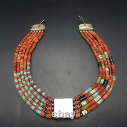 Vintage TONY AGUILAR Sr Sterling Silver CORAL TURQUOISE 5-Strand Choker NECKLACE