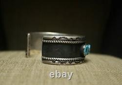 Vintage Thick Heavy Native American Navajo Turquoise Sterling Silver Bracelet