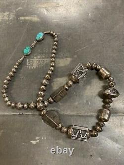 Vintage Tommy Singer Navajo Sterling Bead Statement Necklace withTurquoise Clasp