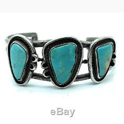 Vintage Triple Shank Sterling Silver & Royston Turquoise Cuff Bracelet