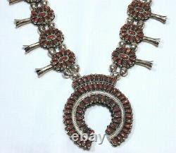 Vintage Turquoise & Coral Reversible Squash Blossom Sterling Silver Necklace