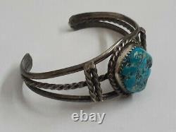 Vintage Turquoise Native Navajo Sterling Silver 925 Cuff Bracelet