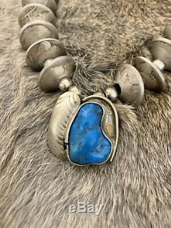 Vintage Turquoise Pendant Buffalo Nickel Navajo Pearl Squash Blossom Necklace