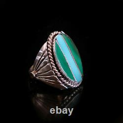 Vintage Turquoise Ring Womens Native American Malachite Sterling Silver Navajo