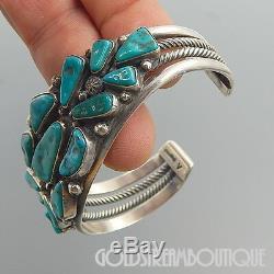 Vintage Verdy Jake Navajo Sterling Silver Turquoise Cluster Wide Cuff Bracelet