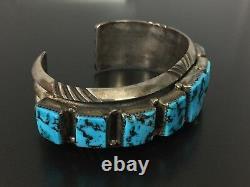 Vintage Wilson Begay Navajo Sterling Silver Heavy Turquoise Bracelet Cuff