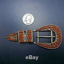 Vintage ZUNI Sterling Silver CORAL Needlepoint 4-Piece RANGER BELT Buckle SET