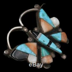 Vintage Zuni/Navajo Old Pawn Sterling Silver Butter Fly Natural Turquoise Brooch
