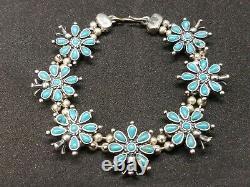 Vintage Zuni Petit Point Cluster Turquoise Sterling Silver Link Bracelet