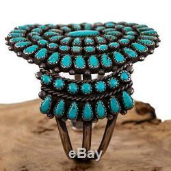 Vintage Zuni Turquoise Bracelet CLUSTER Sterling Silver Old Pawn
