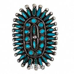 Vintage Zuni Turquoise Ring Cluster Sterling Silver 8 Old Pawn Needlepoint