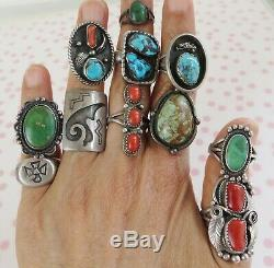 Vintage lot 11 Navajo Native American turquoise sterling silver ring
