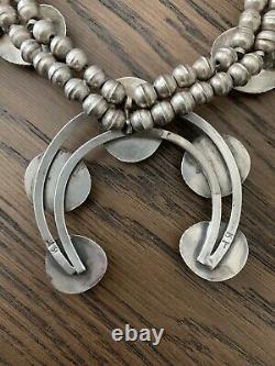 Vintage navajo squash blossom necklace sterling silver Turquoise BT