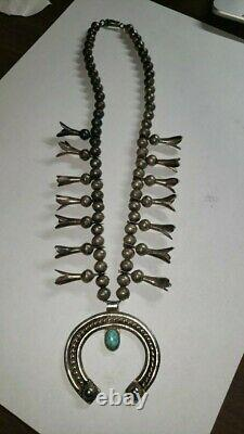 Vintage squash blossom turquoise navajo necklace