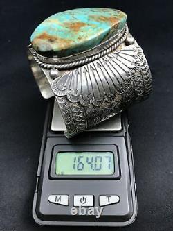 Vtg 164g Huge Navajo Stampwork Turquoise Sterling Silver Cuff Bracelet