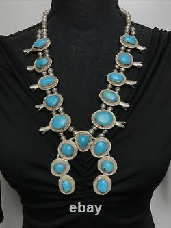 Vtg 183g Navajo Squash Blossom Sleeping Beauty Turquoise Sterling Necklace