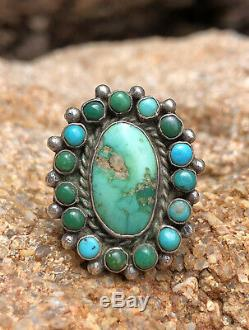 Vtg 1940s Navajo Sterling Silver Royston & Cerrillos Turquoise Snake Eyes Ring