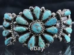 Vtg 30g Old Pawn Navajo Sterling Silver Cluster Turquoise Cuff Bracelet