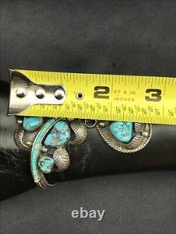Vtg 43g Old Pawn Navajo Cluster Kingman Turquoise Sterling Silver Cuff Bracelet