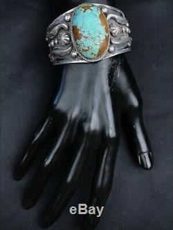 Vtg Heavy 82g Navajo Detailed Sterling Silver Turquoise Cuff Bracelet