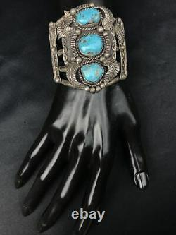 Vtg Huge 102g Old Pawn Navajo 3 Turquoise Detailed Sterling Cuff Bracelet