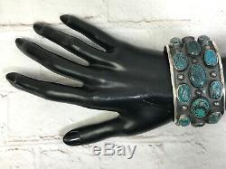 Vtg Huge Navajo Sterling Silver Cluster Spiderweb Turquoise Cuff Bracelet 87g