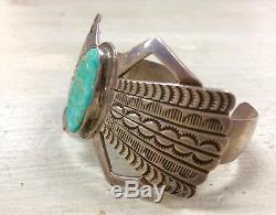 Vtg Martha Cayatineto Navajo Royston Turquoise Sterling Silver Cuff Bracelet