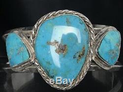 Vtg Navajo 3 Kingman Turquoise Sterling Silver Cuff Bracelet 64g