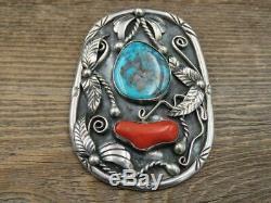 Vtg Navajo Alfred Joe AJ Sterling Silver Bisbee Turquoise & Coral Pendant HUGE