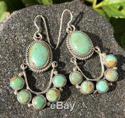 Vtg Navajo NAKAI Sterling Silver Royston Turquoise Chandelier Dangle Earrings