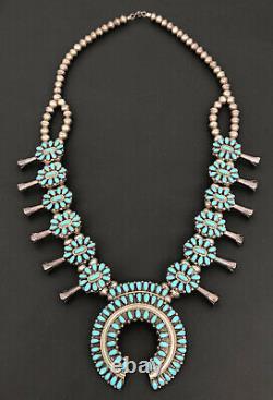 Vtg Navajo Petit Point Cluster Blue Turquoise Sterling Squash Blossom Necklace