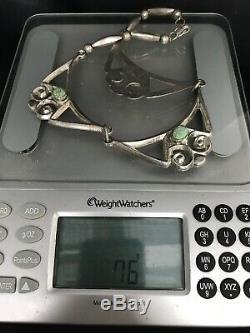 Vtg Navajo Sandcast Sterling Silver Turquoise Choker Necklace 76g