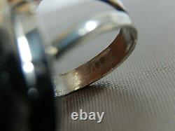 Vtg Navajo Signed Sterling Silver Kingman Black Web Spiderweb Turquoise Ring S 9