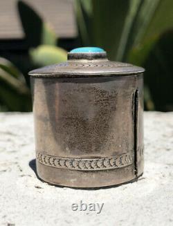 Vtg Navajo Stamped Sterling Silver & Carico Lake Turquoise Stamp Box Dispenser