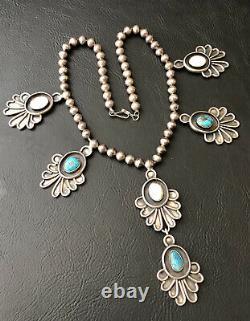 Vtg Navajo Sterling Silver Bisbee Turquoise & Mop Squash Blossom Dangle Necklace