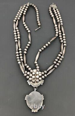 Vtg Navajo Sterling Silver Blue Gem Turquoise 3 Strand Dangle Collar Necklace