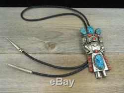 Vtg Old Navajo Ben Gomez Nickel Silver Turquoise Coral 4.5 Kachina Bolo Tie