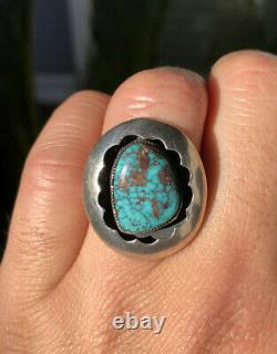 Vtg Old Navajo Native American Blue Gem Turquoise Sterling Silver Shadowbox Ring