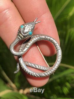 Vtg Old Pawn NAVAJO Sterling Silver & Turquoise Stamped Coiled Snake Brooch Pin
