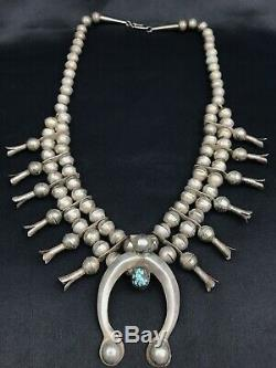 Vtg Old Pawn Navajo 109g Sterling Silver Squash Blossom Turquoise Necklace